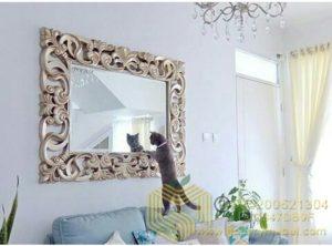 Pigura Cermin Dinding Ukiran